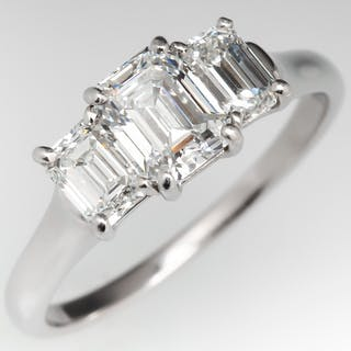 0a757c883bed0a Three Stone Emerald Cut Diamond Engagement Ring 1.03Ct D/VS1 GIA