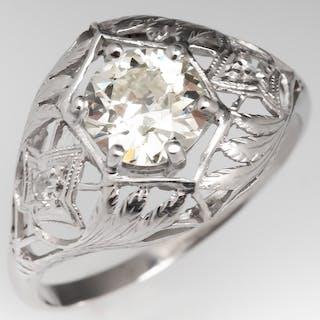 1920's Old Euro Diamond Filigree Engagement Ring Platinum Openwork