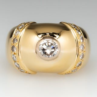 18K Yellow Gold Domed Vintage Diamond Ring