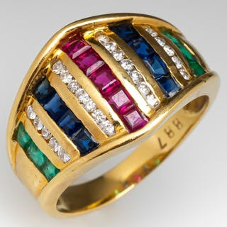 Ruby Sapphire Emerald Diamond 18K Yellow Gold Ring