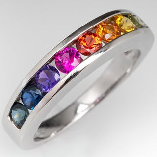Rainbow Sapphire Band Ring 18K White Gold