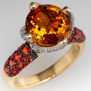Stephanie Occhipinti Citrine & Sapphire Ring w/ Diamond Accents 14K