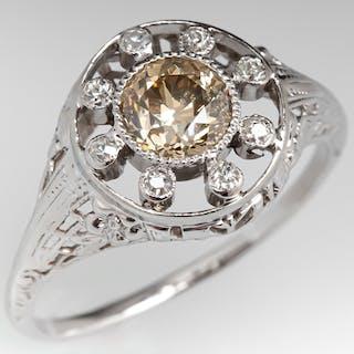 Fancy Color Antique Old European Cut Diamond Engagement Ring