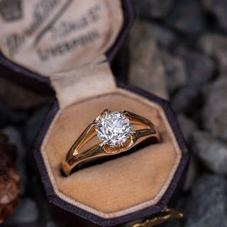 18K Yellow Gold Diamond Solitaire Engagement Ring Old European Cut