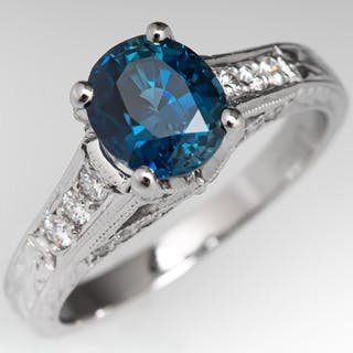 Oval Cut Blue Green Sapphire Engagement Ring Diamond Accents & Engravings