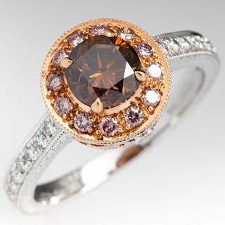 Fancy Orange Brown Diamond Halo Engagement Ring 18K 1.02Ct SI2