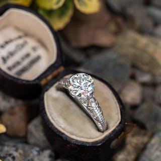 Transitional Cut Diamond Vintage Filigree Engraved Engagement Ring
