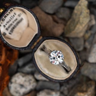 Antique Solitaire Transitional Cut Diamond Engagement Ring Platinum GIA
