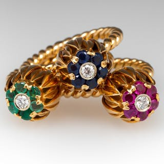 Stack of Flowers Rings Emerald Ruby Sapphire 18K Gold