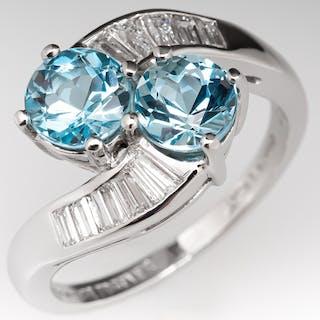 1970's Twin Aquamarine Retro Ring w/ Baguette Diamond Accents