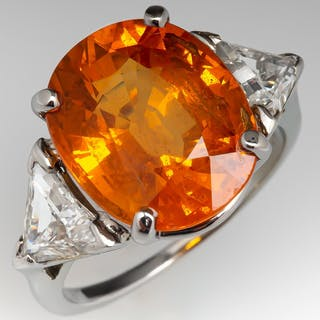 9 Carat Orange Sapphire Ring w/ Triangle Side Diamonds 14K