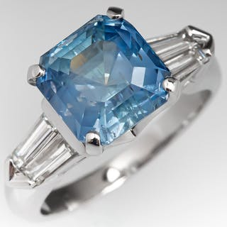 Magnificent Smoky Blue Montana Sapphire Ring w/ Tapered Baguettes 4.70ct No Heat