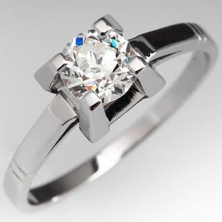 Vintage Geometric Design Diamond Solitaire Engagement Ring .70ct H/VS1 GIA