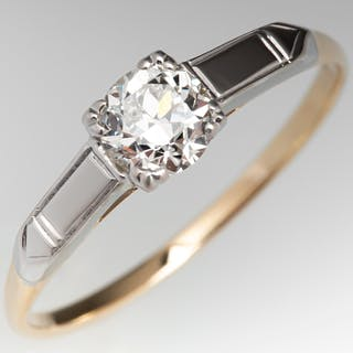 1940's Vintage Diamond Solitaire Engagement Ring .47ct H/VS2 GIA