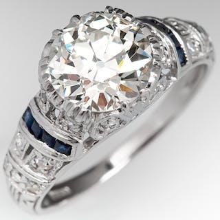 Old European Cut Diamond in Modern Art Deco Style...
