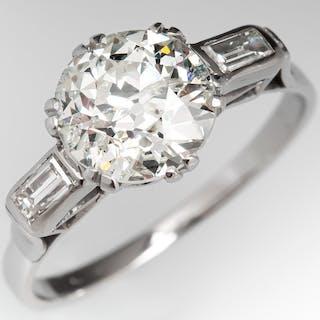 Classic Art Deco 1930's 2 Carat Diamond Engagement Ring Platinum 2.01ct K/I1
