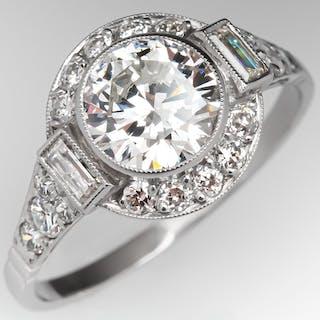 Bezel Set Low Profile Diamond Ring w/ Baguettes & Halo Platinum 1.18ct G/VS2
