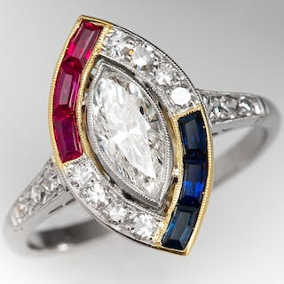 Marquise Diamond Ring w/ Ruby & Sapphire Accents Platinum & 18K Gold .71ct I/SI2