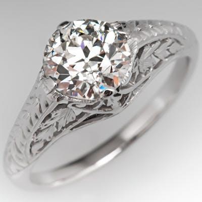 1920's Antique Filigree Engagement Ring 1.45ct K/VS1 GIA
