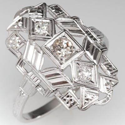 Late Art Deco Diamond Dinner Ring 18K White Gold