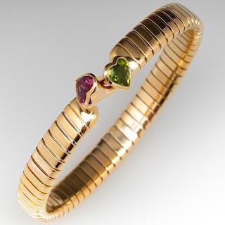 Bvlgari Tubogas Heart Peridot & Tourmaline Bracelet 18K Gold Bulgari