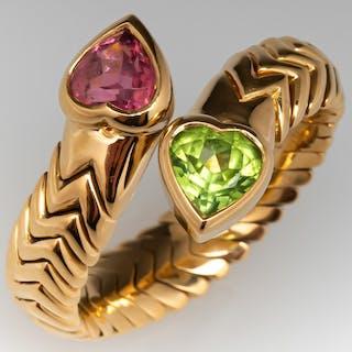 Bvlgari Tubogas Heart Pink Tourmaline & Peridot Ring 18K Gold Bulgari