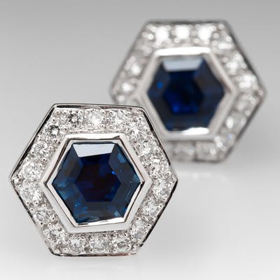 Hexagon Blue Sapphire & Diamond Stud Earrings 18K White Gold