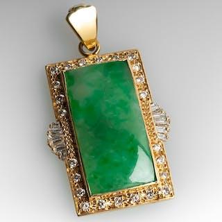 Untreated Jadeite A-Jade Pendant w/ Diamond Accents 14K Gold