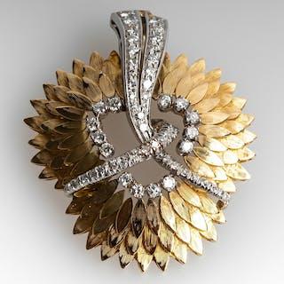 Vintage Diamond Pendant Feather Detailing 18K Gold