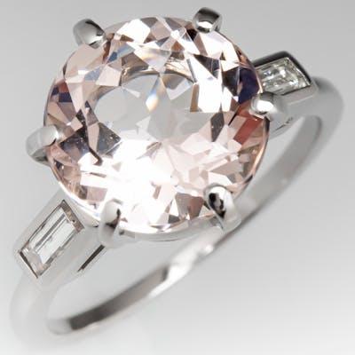 Pink Morganite Gemstone Ring in Vintage Platinum Diamond Mounting