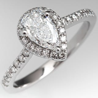 Pear Cut Diamond Halo Engagement Ring .61ct G/SI2