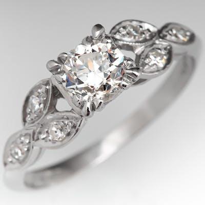 Antique Engagement Ring Transitional Cut Diamond .54ct F/I1