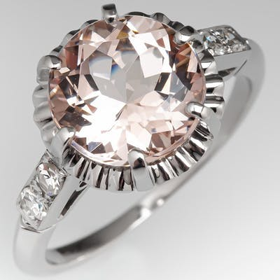 3 Carat Morganite Engagement Ring Buttercup w/ Diamond Accents