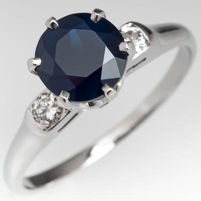 Dark Greenish Blue No Heat Sapphire Ring Platinum w/ Diamonds 1.81ct