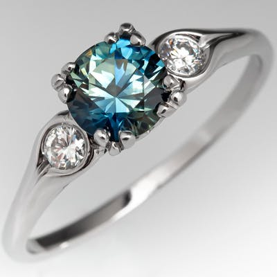 1 Carat No Heat Blue Green Sapphire Engagement Ring