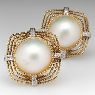 Vintage Mabe Pearl Earrings 14K Large Size