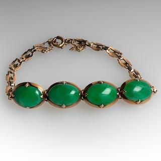 Vintage Untreated Jadeite A-Jade Bracelet 14K Gold