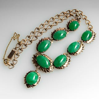 Vintage Untreated Jadeite A-Jade Necklace 14K Gold
