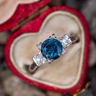 1.5 Carat Peacock Montana Sapphire Engagement Ring