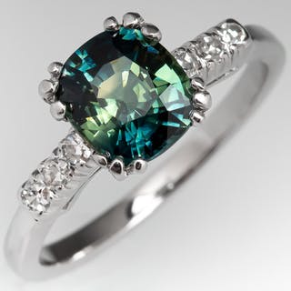 Blue Green Bi-Color Sapphire Engagement Ring in 1950's Platinum