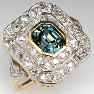 Icy Blue Green Sapphire Low Profile Cocktail Ring w/ Diamonds