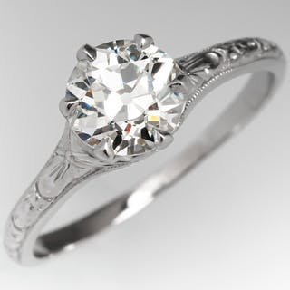 Vintage Solitaire Engagement Ring Old Euro Diamond 1.06ct J/SI1 GIA