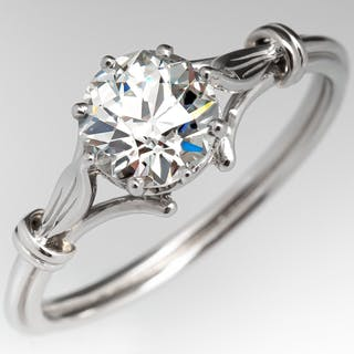 Floral Crown Engagement Ring Old Euro Diamond 1.09ct J/SI1 GIA