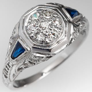 1940's Filigree Antique Diamond Ring w/ Created Sapphire Accents 18K