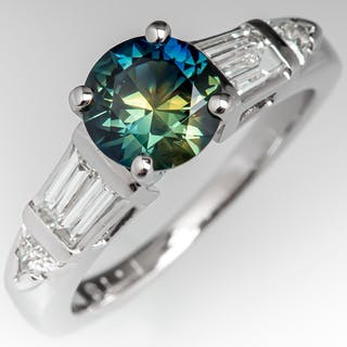 1.54 Carat Vibrant Blue Green Sapphire Engagement Ring