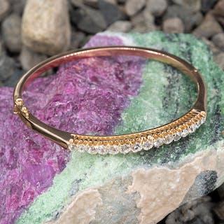 Antique Old European Cut Diamond Bangle Bracelet 18K Gold