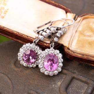 Vintage Pink Sapphire & Diamond Dangle Earrings