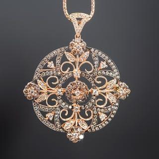 14K Rose Gold White & Fancy Light Brown Diamond Pendant Necklace