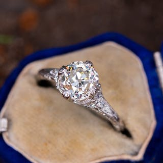 Engraved Antique Engagement Ring Old Mine Cut Diamond 1.79Ct K/SI2 GIA