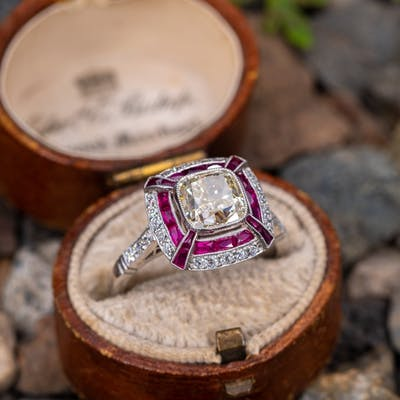 Cushion Cut Diamond w/ Ruby Halo Dome Ring Platinum 2.01ct N/VS2